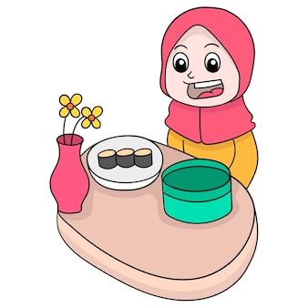 이프타르, 벡터 일러스트레이션 아트를 먹는 아름다운 이슬람 히잡 소녀. 낙서 아이콘 이미지 귀엽다.