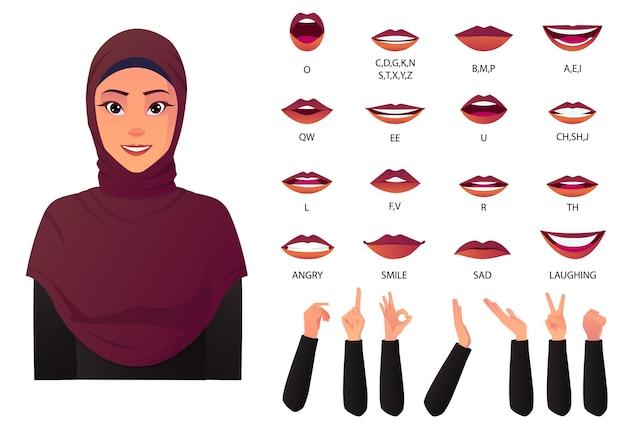 美しいイスラム教徒の女性の口のアニメーションとハンドジェスチャによるリップシンクの作成