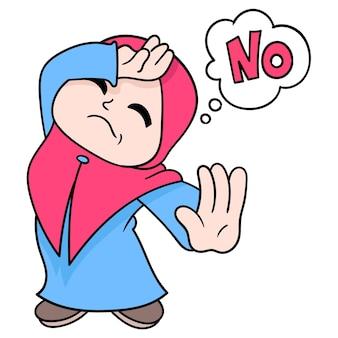 Красивая мусульманская женщина в позе хиджаба сказать нет, векторная иллюстрация искусства. каракули изображение значка каваи.