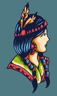 Beautiful native american traditional woman