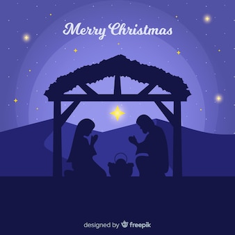 Beautiful nativity scene background in flat design