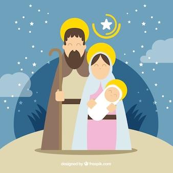 フラットデザインの美しいキリスト降誕シーン 無料ベクター