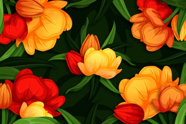 Beautiful natural flowers hand drawn