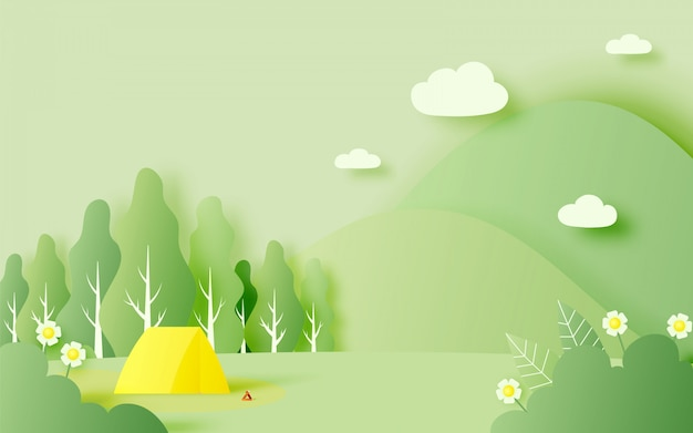 Beautiful natural landscape with tent for spring summer
