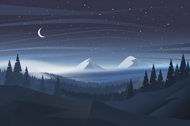 Beautiful natural night landscape background