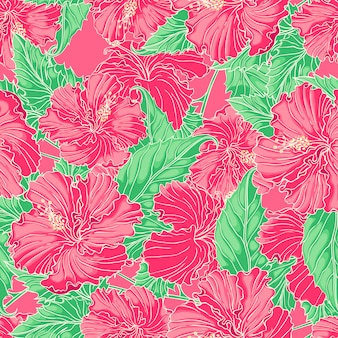 Beautiful natural seamless background with pink hibiscus