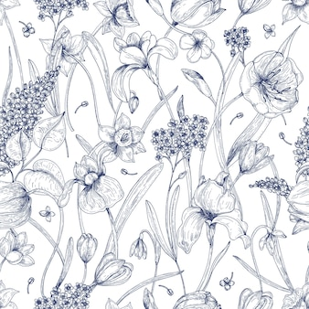 Beautiful natural seamless pattern with spring flowers hand drawn with contour lines on white