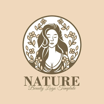 Красивая натуральная женщина логотип шаблон