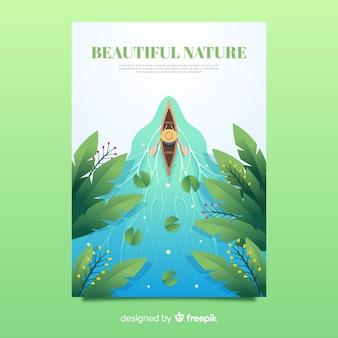 Красивая природа и шаблон плаката путешествия