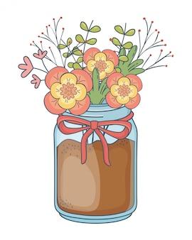 Beautiful nature flowers cartoon