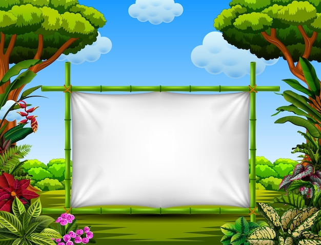 Beautiful nature frame with the tree and flower accent