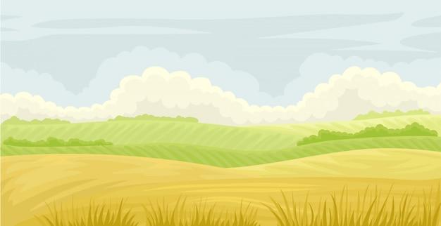 美しい自然の風景、曇りの青い空の草原、農業、白い背景のイラストを農業