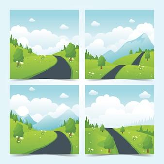 시골 도로와 아름다운 자연 풍경, 플랫 스타일의 여름 풍경 모음