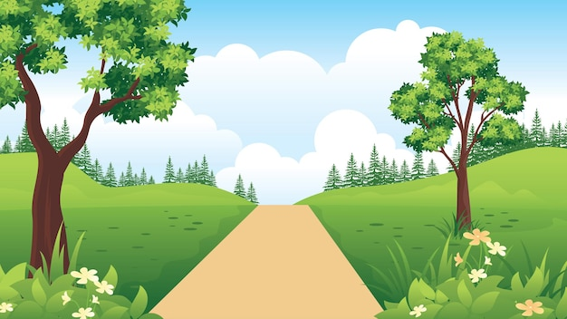 시골 도로와 아름다운 자연 풍경, 플랫 스타일의 여름 풍경