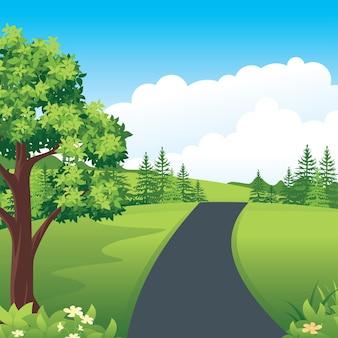 시골 도로와 아름다운 자연 풍경