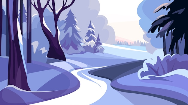 Beautiful nature landscape with snowy winter forest