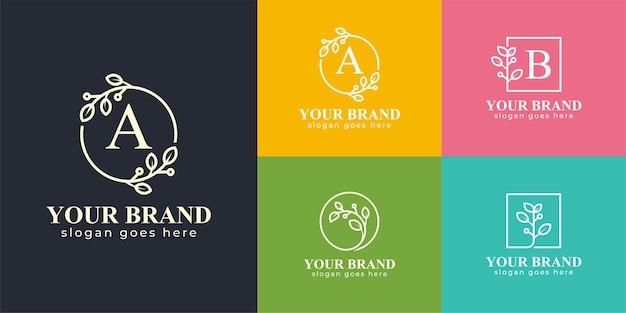 自然化粧品のロゴ、美容ブランド、スキンケア、スパのロゴセットの美しい自然の葉