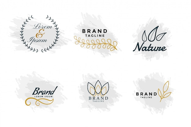 Beautiful nature logos or wedding monograms collection