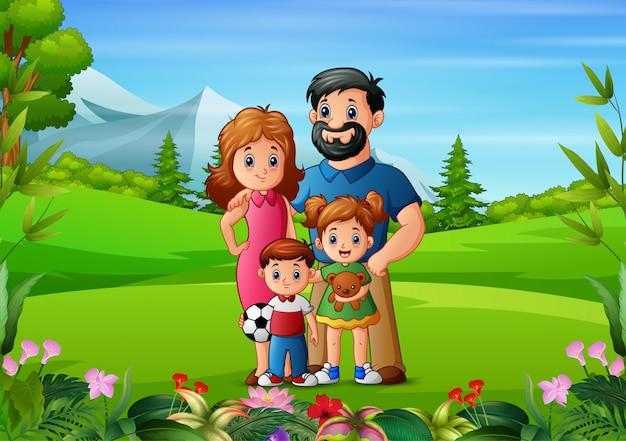 若い家族と美しい自然