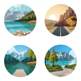 Beautiful natures landscapes drawing sceneries