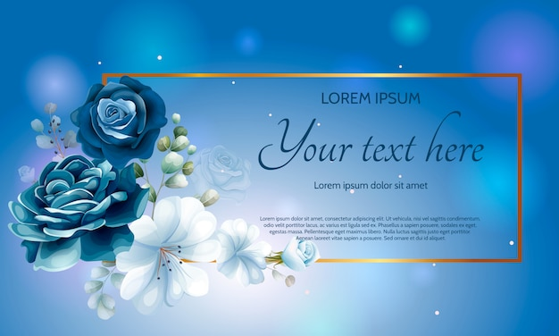 Beautiful navy blue floral paper template