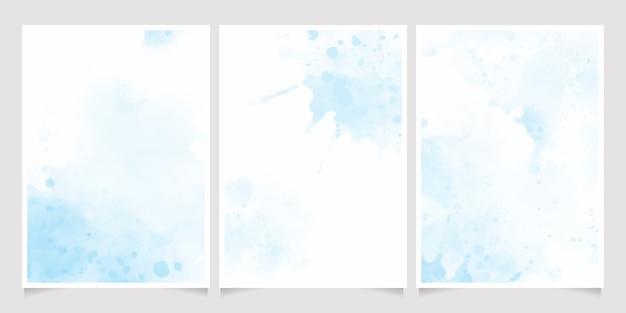 美しいネイビーブルーの水彩ウェットウォッシュスプラッシュ招待状テンプレートコレクション