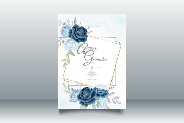 美しいネイビーの花のフレームの結婚式の招待カードのテンプレート