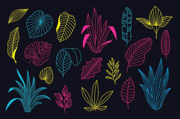 Beautiful neon hand drawn floral collection