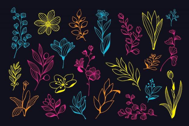 아름 다운 네온 손으로 그린 꽃 모음