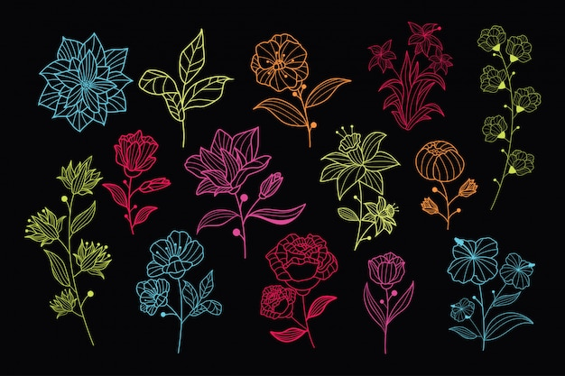 Beautiful neon hand drawn floral vector collection