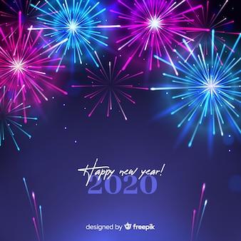 Beautiful new year 2020 fireworks