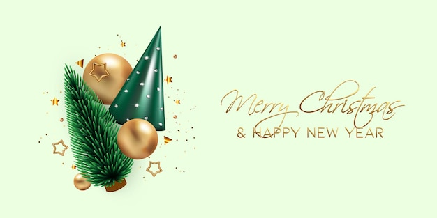 Beautiful new year or christmas banner with realistic 3d green cone tree gold christmas balls star