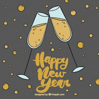 Beautiful new year lettering in vintage style