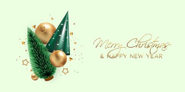 현실적인 3d 녹색 콘 트리 골드 크리스마스 볼 스타와 함께 아름 다운 새 해 또는 크리스마스 배너