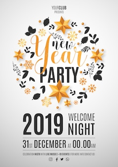 Beautiful new year party poster template with christmas ornaments