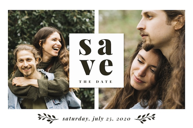 Beautiful newlyweds save the date