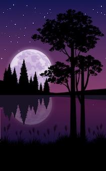 紫色の空と湖の美しい夜