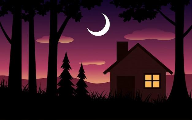 시골에서 아름 다운 밤