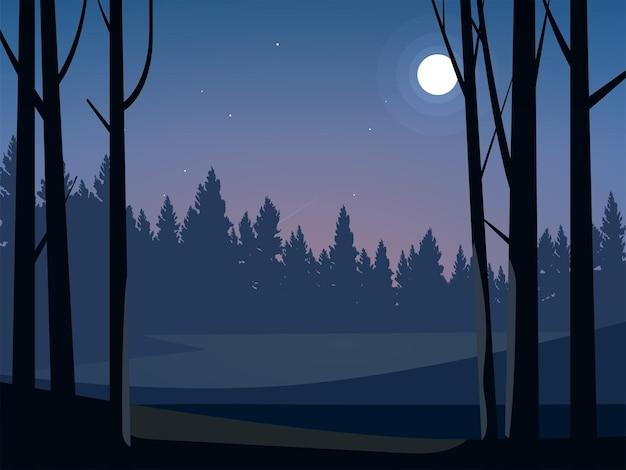Красивая ночь в лесу при лунном свете