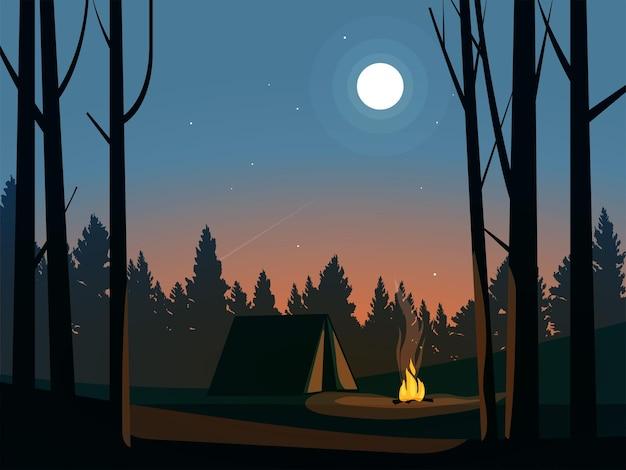 Красивая ночь в лесу с палаткой и костром