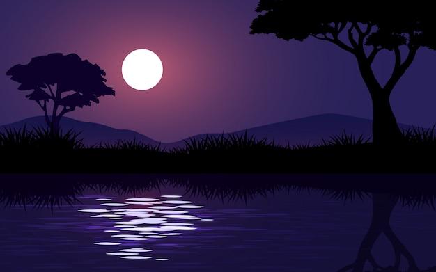 보름달과 강에 아름 다운 밤