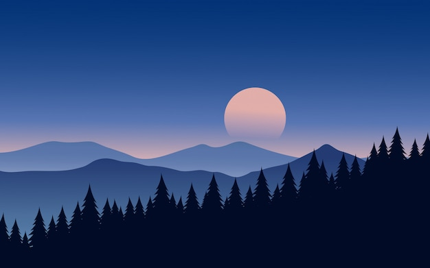 Beautiful night landscape with pine forest silhouette and moon
