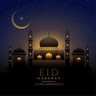 Beautiful night scene eid background with mosque and moon