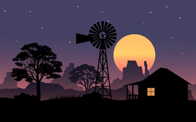 Красивый ночной пейзаж с домом и мельницей
