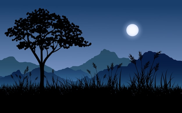Beautiful night scenery with moon, mountain and tree silhouette