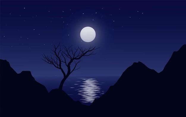 Красивый ночной силуэт с лунным светом