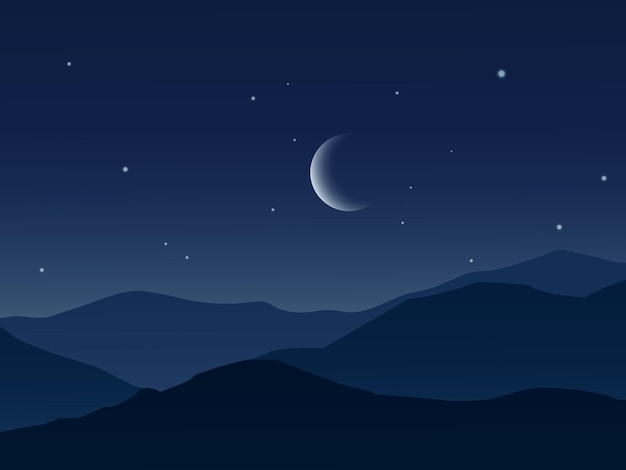 Красивое ночное небо в горах с луной и звездами
