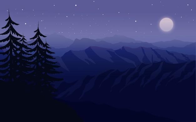 산 위에 아름다운 밤하늘