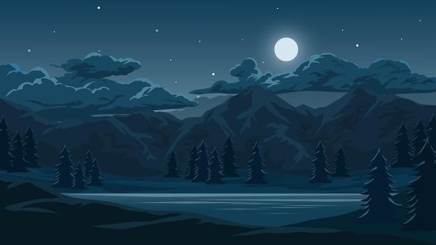 Красивая ночь с горным озером и лунным светом Premium векторы