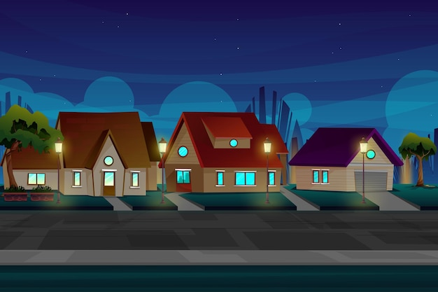 Красивая ночная сцена с домом в деревне возле дороги с освещением от электрических и уличных фонарей